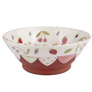 A photo of a handmade ceramic summer fruits design bowl