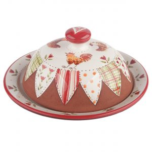 A photo of a handmade ceramic Chicken Butter dish