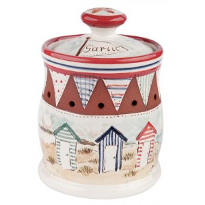 A photo of a handmade ceramic Seaside design Garlic pot with beach huts
