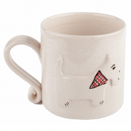 A photo of a handmade ceramic Childrens white dog design mugs