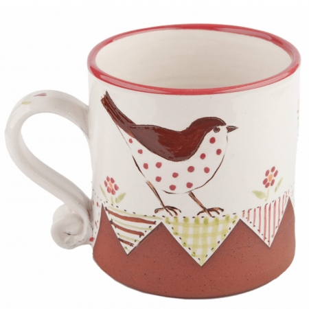 A photo of a small bird design mugs with patchwork effect