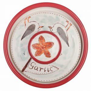 A photo of a handmade ceramic seaside design garlic pot