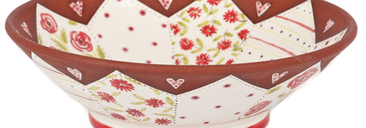 A photo of a handmade ceramic Floral Patchwork Bow