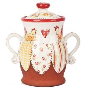 A photo of a handmade ceramic floral patchwork Lidded Jar
