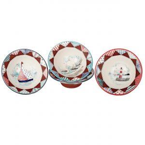 A photo of three handmade ceramic Seaside design bowls
