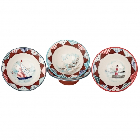 A photo of three handmade ceramic Seaside design bowls