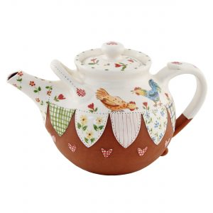 A photo of a large handmade Chicken teapot