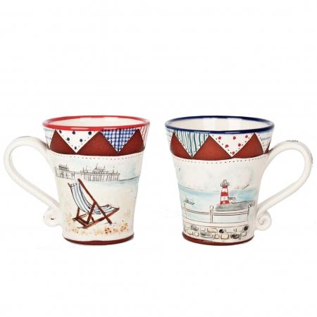 A photo of two handmade ceramic Seaside design Mugs