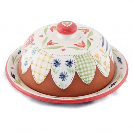 A photo of a handmade Floral patchwork design butter dish