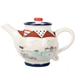 A photo of a handmade ceramic Seaside design teapot