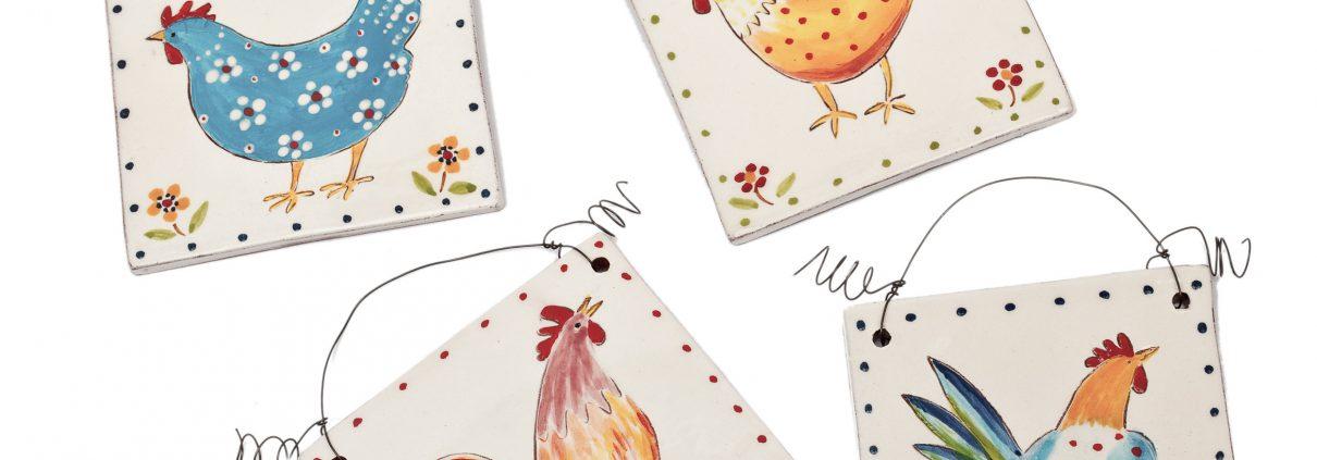 A photo of handmade ceramic Chicken design decorative tiles