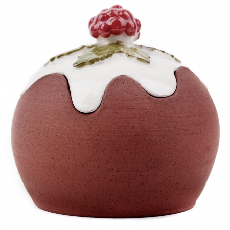 A photo of a handmade ceramic Christmas pudding Jar