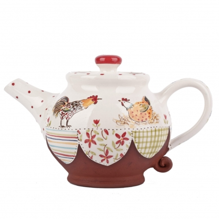A photo of a handmade ceramic Large chicken design teapot