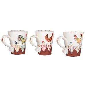 A photo of a selection of handmade ceramic chicken mugs