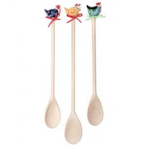 A photo of a selection of wooden spoons with handmade ceramic tops