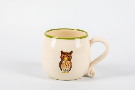 A photo of a white childs ceramic mug with an owl on the side