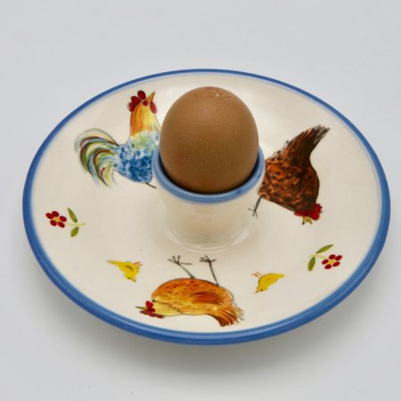 A photo of a chicken design childrens egg plate