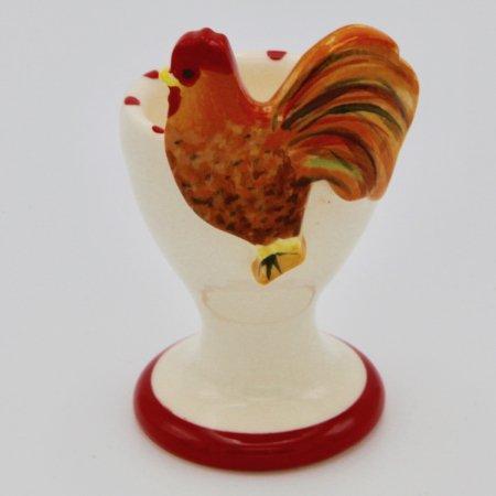 A photo of an orange chicken design childrens egg cup