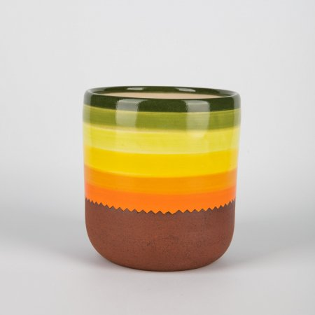 A photo of a hand made ceramic 70s design plant pot